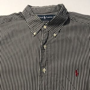 RALPH LAUREN POLO Mens Black White Stripe Shirt XL